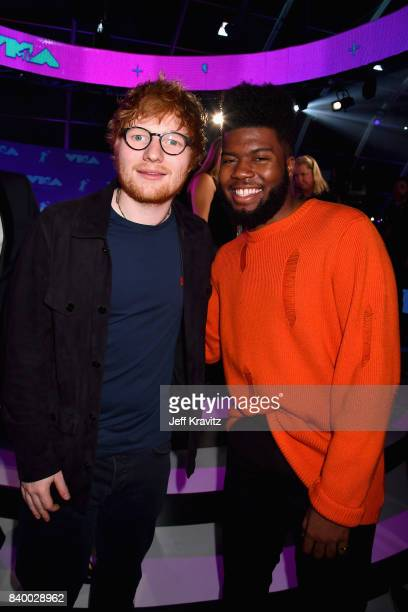 Singer songwriters Ed Sheeran and Khalid durring the 2017 MTV Video Music Awards at The Forum on August 27, 2017 in Inglewood, California.