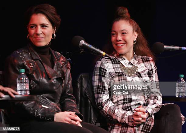 Singer/ songwriters Emily King and Kendra Foster speak during the GRAMMY Pro Songwriters Summit Women Making Music at The Apollo Theater on March 20...