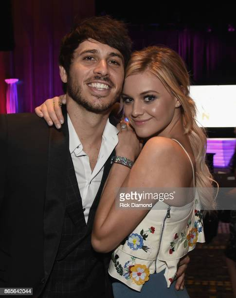 Singer Songwriters Morgan Evans and Kelsea Ballerini attend the 2017 Nashville Songwriters Hall Of Fame Awards at Music City Center on October 23...