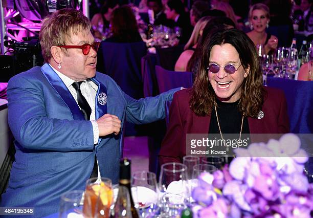 Singer songwriters Ozzy Osbourne and Sir Elton John attend the 23rd Annual Elton John AIDS Foundation Academy Awards Viewing Party on February 22...