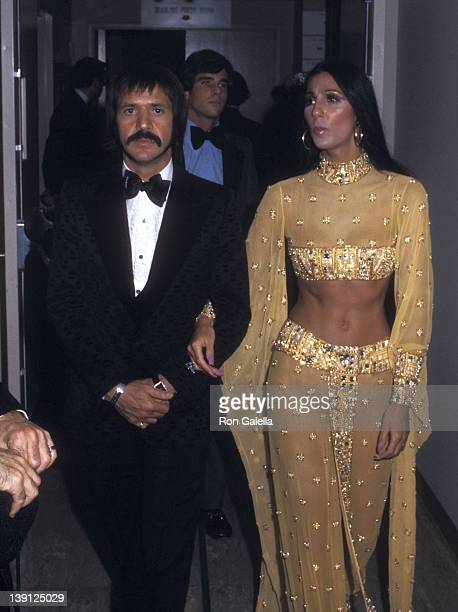 Singer Sonny Bono and singer Cher attend the 45th Annual Academy Awards on March 27 1973 at Dorothy Chandler Pavilion Los Angeles Music Center in Los...