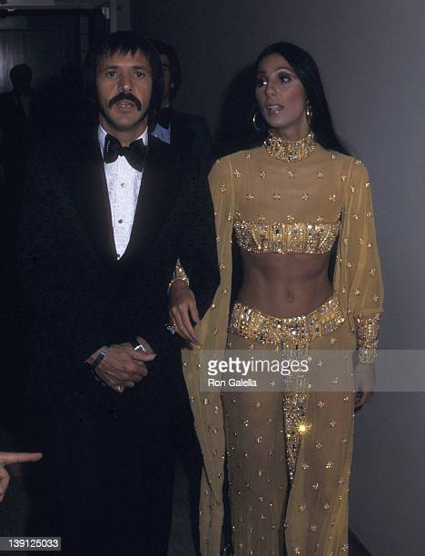 Singer Sonny Bono and singer Cher attend the 45th Annual Academy Awards on March 27, 1973 at Dorothy Chandler Pavilion, Los Angeles Music Center in...