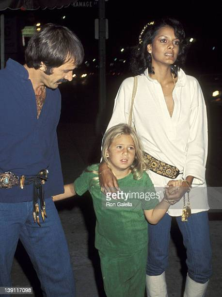 Singer Sonny Bono girlfriend Susie Coelho and and his daughter Chastity Bono on June 10 1977 dine at The Palm Restaurant in Los Angeles California