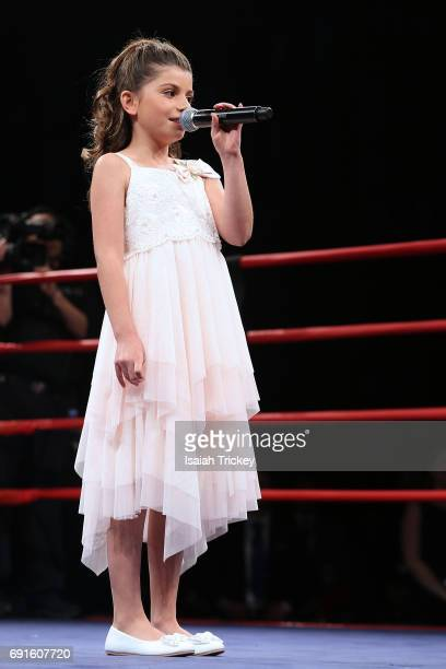 Singer Sophia Boston sings O Canada at the Victory Charity Ball at CBC Toronto on June 1 2017 in Toronto Canada