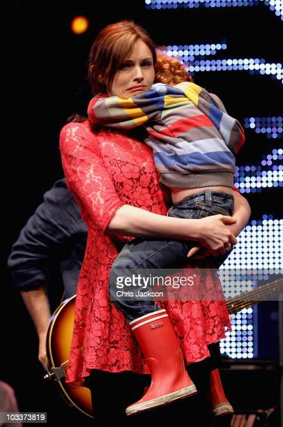 Singer Sophie Ellis Bextor on stage with her son Sonny Jones during Day 1 of the Vintage at Goodwood Festival on August 13 2010 in Chichester England