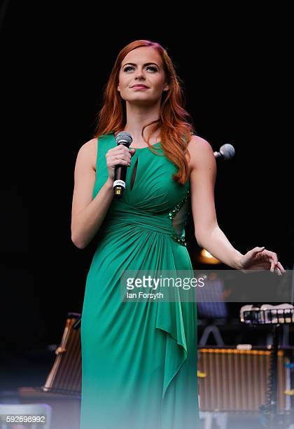 Singer Sophie Evans performs at the annual classical Proms Spectacular concert held on the north lawn of Castle Howard on August 20 2016 in York...