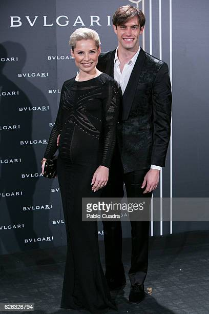 Singer Soraya Arnelas and Miguel Herrera attend the opening of the exhibition 'Bulgari and Roma' at Italian Embassy on November 28 2016 in Madrid...