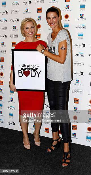 Singer Soraya Arnelas and model Laura Sanchez get charity tatoos during the campaign against cancer 'Me Pongo En Tu Piel' on September 18 2014 in...