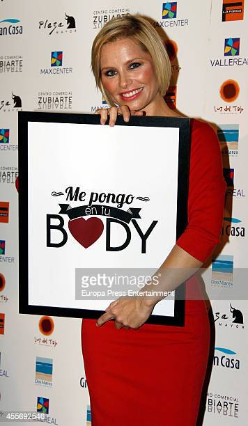 Singer Soraya Arnelas gets charity tatoos during the campaign against cancer 'Me Pongo En Tu Piel' on September 18 2014 in Madrid Spain