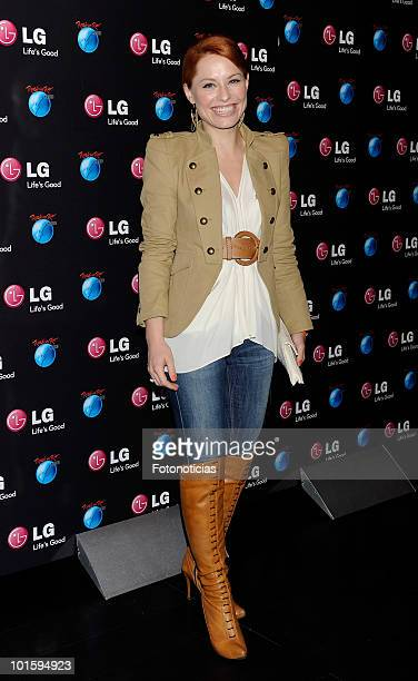 Singer Soraya attends the presentation of LG as sponsor of 'Rock In Rio Madrid 2010' at Puerta de America Hotel on March 24 2010 in Madrid Spain
