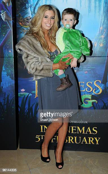 Singer Stacey Solomon and her son Zachary attend 'The Princess And The Frog' Tea Party at the Mayfair Hotel on January 24 2010 in London England