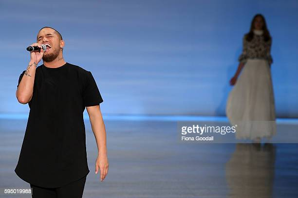 Singer Stan Walker on the runway during the Rochelle Show at 2016 New Zealand Fashion Week on August 25 2016 in Auckland New Zealand