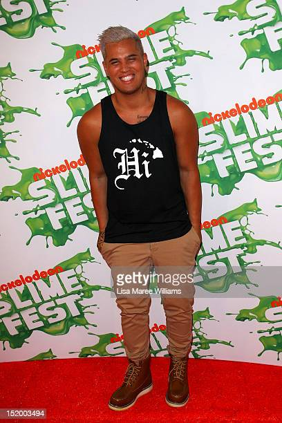 Singer Stan Walker poses on the media wall ahead of the Nickelodeon Slimefest 2012 evening show at Hordern Pavilion on September 15 2012 in Sydney...