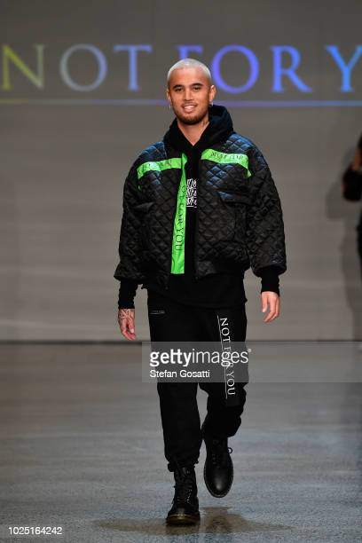 Singer Stan Walker walks the runway during the Not For You Contemporary Salon show during New Zealand Fashion Week 2018 at Viaduct Events Centre on...