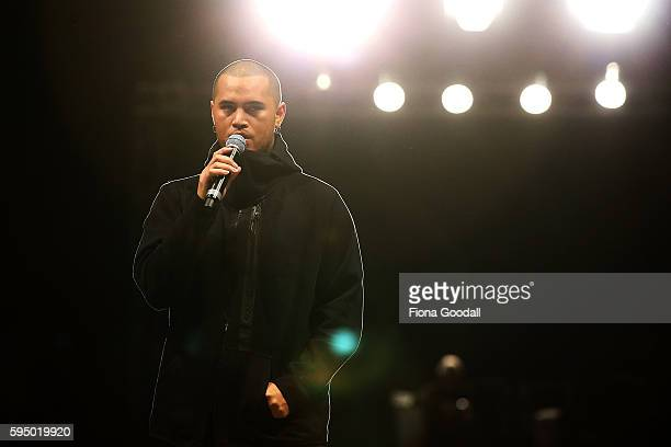 Singer Stan Walker warms up on the runway before the Rochelle Show at 2016 New Zealand Fashion Week on August 25 2016 in Auckland New Zealand