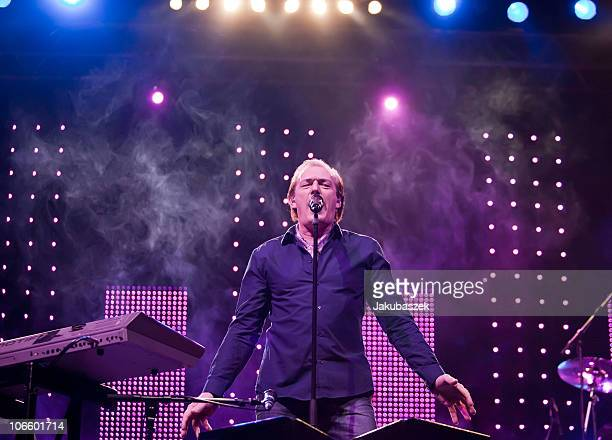 Singer Stefan Zauner of the German pop band Muenchener Freiheit performs live during a concert at the Tempodrom on November 6 2010 in Berlin Germany...