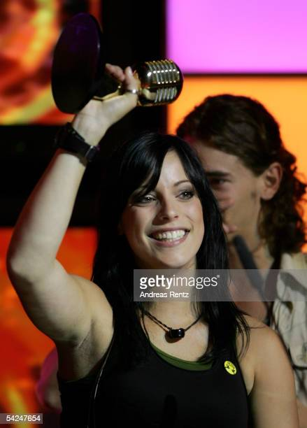 Singer Stefanie Kloss and the band Silbermond receive the Award for 'Best German Pop' during the German Radio Awards 2005 at the Tempodrom Hall...