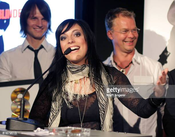 Singer Stefanie Kloss from the band Silbermond speaks during the Platin and TripleGold Award at the 'Bank' on June 23 2008 in Hamburg Germany