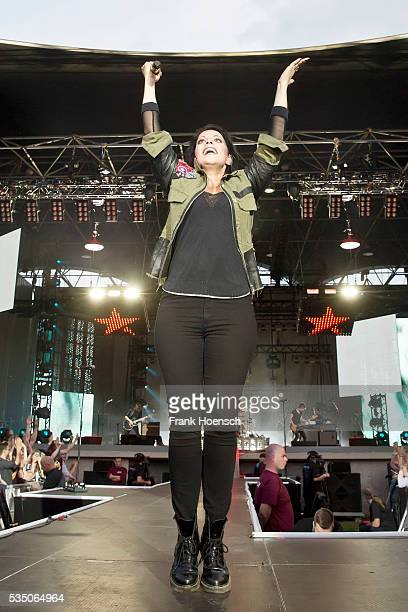 Singer Stefanie Kloss of the German band Silbermond performs live during a concert at the Kindlbuehne Wuhlheide on May 28 2016 in Berlin Germany