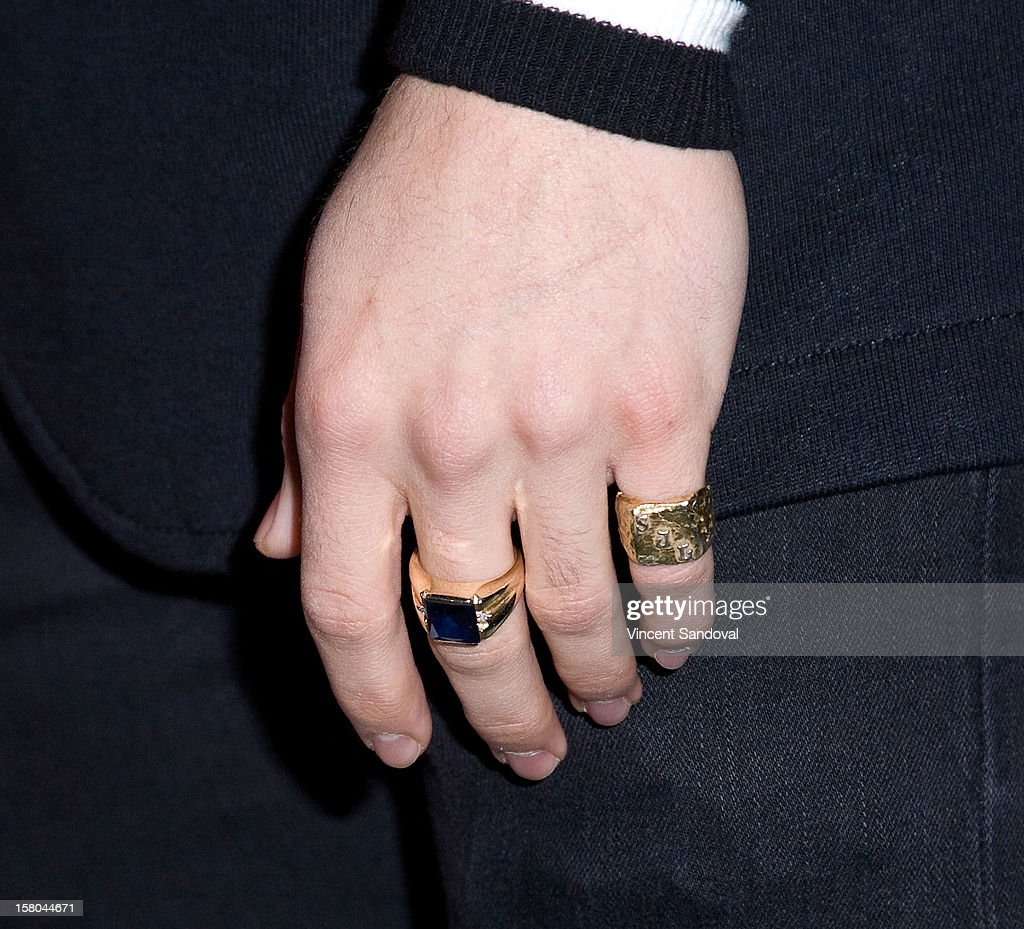 Singer Stefano Langone (ring detail) attends AEG's Season of Giving honoring PADRES Contra El Cancer during a special on-ice presentation at the LA Kings Holiday Ice at Nokia Plaza L.A. LIVE on December 9, 2012 in Los Angeles, California.