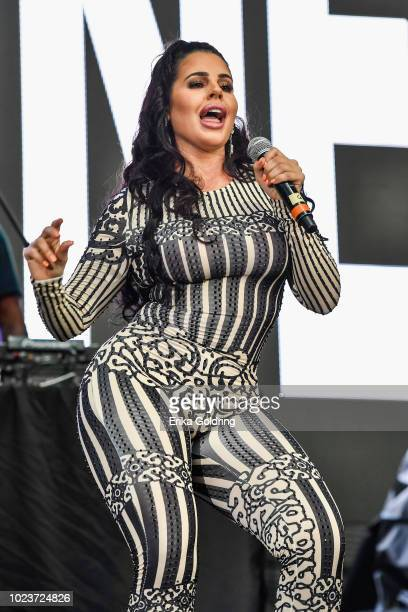 Singer Stephanie Acevedo performs during Lil WeezyAna at Champions Square on August 25 2018 in New Orleans Louisiana