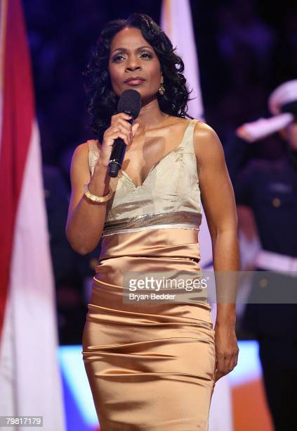 Singer Stephanie Jordan performs at the 57th NBA AllStar Game part of 2008 NBA AllStar Weekend at the New Orleans Arena on February 17 2008 in New...