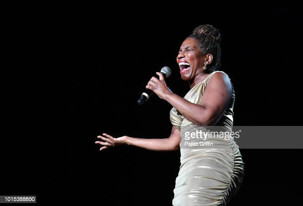 Singer Stephanie Mills peforms onstage during KISS 1041 FM Flashback Festival at Cellairis Amphitheatre at Lakewood on August 11 2018 in Atlanta...