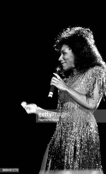Singer Stephanie Mills performs at the Auditorium Theatre in Chicago Illinois in January 1986