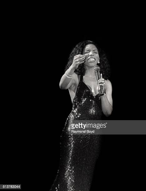Singer Stephanie Mills performs at the New Regal Theater in Chicago Illinois in 1990