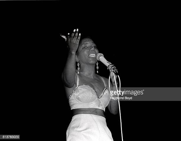 Singer Stephanie Mills performs at the Auditorium Theater in Chicago Illinois in 1991