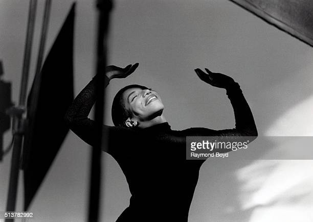 Singer Stephanie Mills performs during a video shoot in Chicago Illinois in 1992