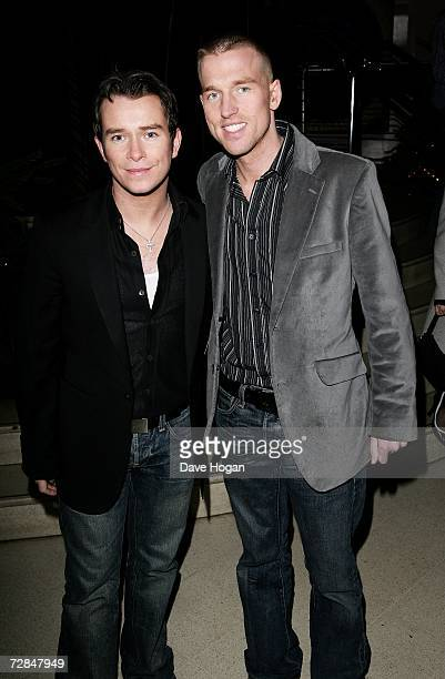 Singer Stephen Gately and his partner Andy Cowles arrive at the after party following the world charity film premiere of ''It's A Boy Girl Thing''...