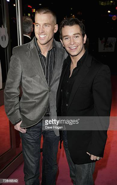 Singer Stephen Gately and his partner Andy Cowles arrive at the world charity film premiere of It's A Boy Girl Thing in support of the Elton John...