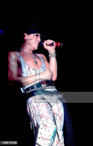 Singer Stephen Pearcy of Ratt performs on stage at the Poplar Creek Music Theater in Hoffman Estates Illinois June 13 1984