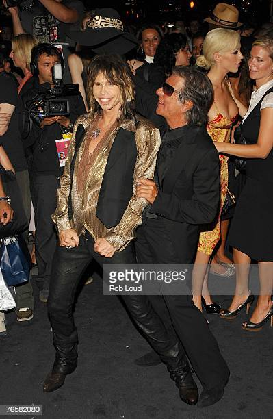 Singer Stephen Tyler and designer Roberto Cavalli at the Just Cavalli flagship store launch party during MercedesBenz Fashion Week Spring 2008 on...
