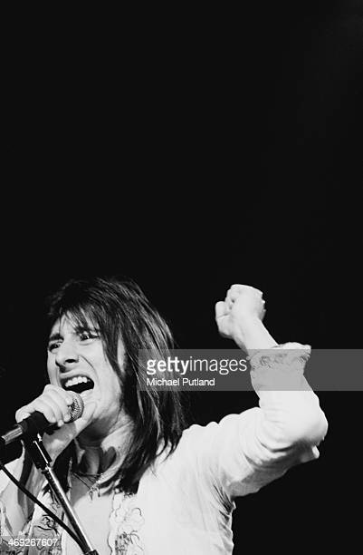 Singer Steve Perry performing with American rock group Journey on their 'Departure' tour 1980