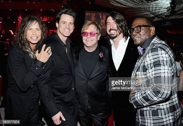 Singer Steven Tyler actor Jim Carrey Sir Elton John musician Dave Grohl and tv personality Randy Jackson attend the 21st Annual Elton John AIDS...