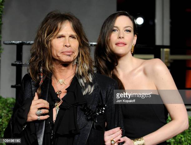 Singer Steven Tyler and actress Liv Tyler arrive at the Vanity Fair Oscar Party held at Sunset Tower on February 27, 2011 in West Hollywood,...