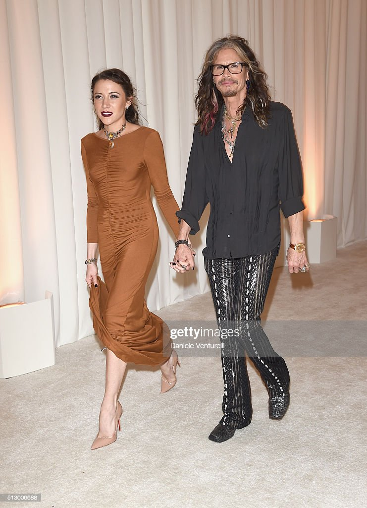 Singer Steven Tyler (R) and guest attend Bulgari at the 24th Annual Elton John AIDS Foundation's Oscar Viewing Party at The City of West Hollywood Park on February 28, 2016 in West Hollywood, California.