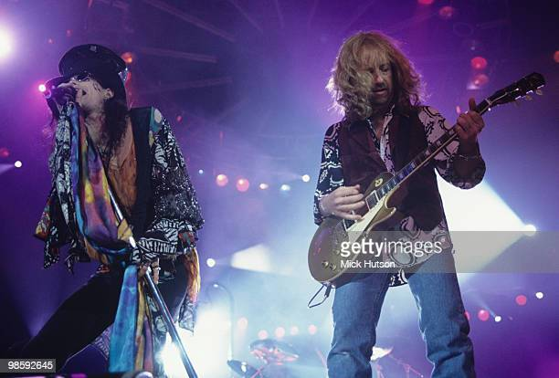Singer Steven Tyler and guitarist Brad Whitford of Aerosmith perform on stage at Wembley Arena in London England in December 07 1993