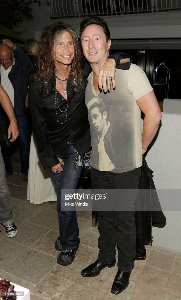 Singer Steven Tyler (L) and Julian Lennon attend the Julian Lennon 'Everything Changes' CD release party at Sunset Marquis Morrison Hotel Gallery on June 14, 2013 in West Hollywood, California.