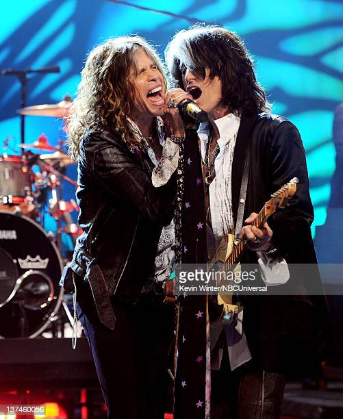 Singer Steven Tyler and musician Joe Perry of Aerosmith perform on the Tonight Show With Jay Leno at NBC Studios on January 20, 2012 in Burbank,...