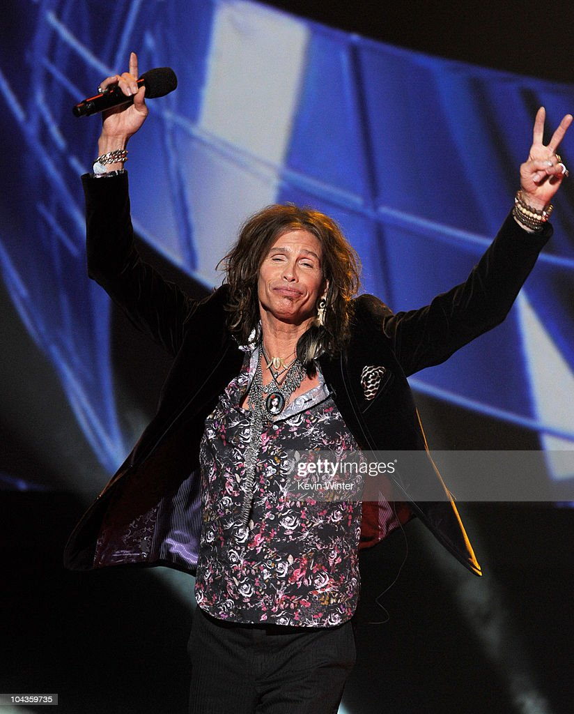 Singer Steven Tyler appears onstage at a press conference to officially announce the season 10 'American Idol' judges panel at The Forum on September 22, 2010 in Inglewood, California.