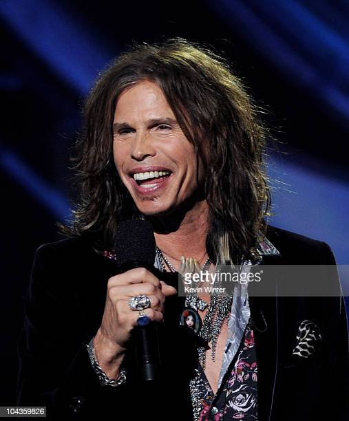 Singer Steven Tyler appears onstage at a press conference to officially announce the season 10 'American Idol' judges panel at The Forum on September...