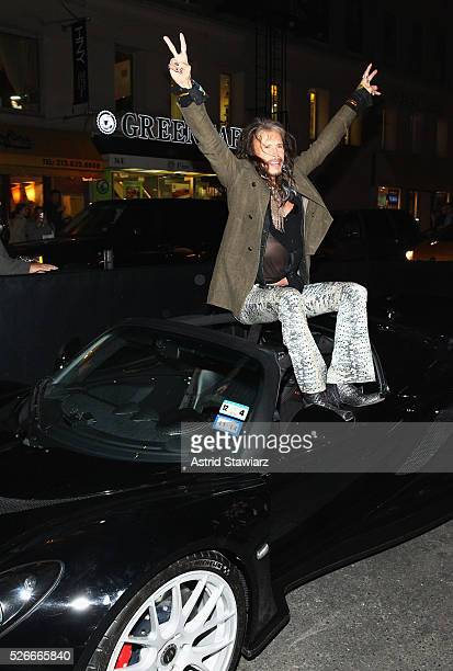 Singer Steven Tyler attends an exclusive event with DuJour's Jason Binn and Nicole Vecchiarelli to celebrate the 'Steven Tyler...Out On A Limb'...
