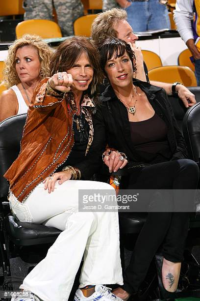 Singer Steven Tyler of Aerosmith and guest attend Game Six of the 2008 NBA Finals between the Boston Celtics and the Los Angeles Lakers on June 17...