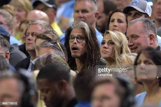 Singer Steven Tyler of Aerosmith attends the game between the Gonzaga Bulldogs and the North Carolina Tar Heels during the 2017 NCAA Men's Final Four...