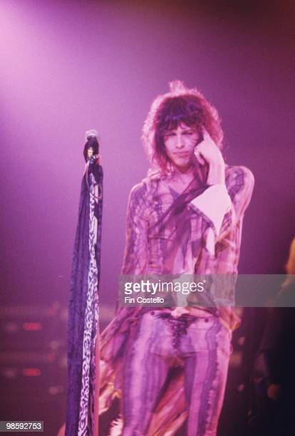Singer Steven Tyler of Aerosmith performs on stage at the Providence Civic Center in Rhode Island on October 27 1975