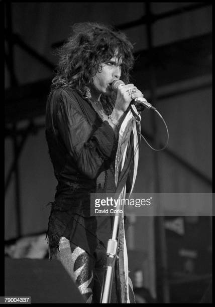 Singer Steven Tyler of the rock band 'Aerosmith' performs onstage at Reading Festival in August 1976 in England