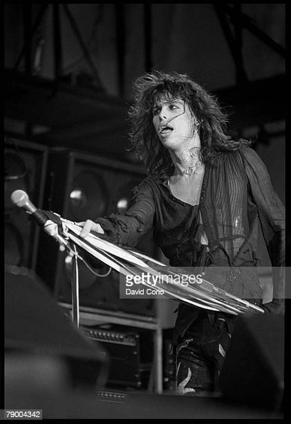 Singer Steven Tyler of the rock band Aerosmith performs onstage at Reading Festival in August 1976 in England